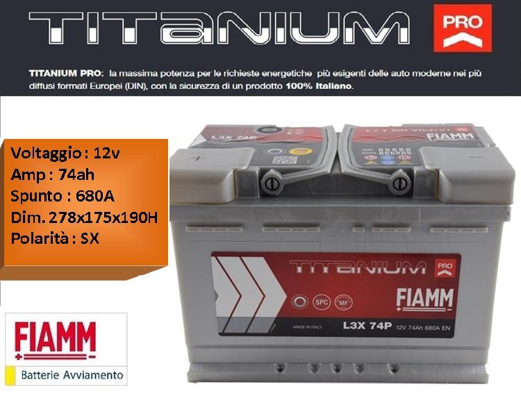 batterie per auto batteria fiamm l3x 74p 12v 74ah 680a positivo sx. Black Bedroom Furniture Sets. Home Design Ideas